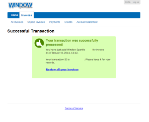 FreshBook Successful Transaction