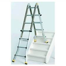 using an adjustable ladder to clean windows